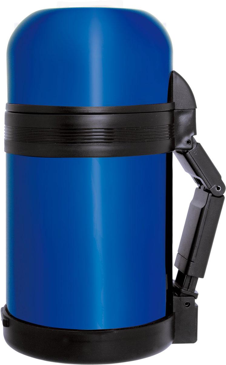 Материал: высококачественная нержавеющая сталь. Объем: 0,8 л. Клапан с вакуумной теплоизоляцией сохраняет напитки горячими или холодными долгое время. Дополнительная крышка - чашка из пищевого пластика. Цвет: синий.