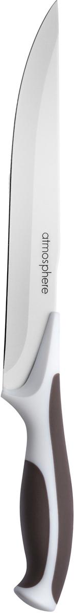 Нож разделочный Atmosphere Provence, длина лезвия 15 смAT-P122Нож средней длины из нержавеющей стали прослужит вам долгие годы и будет радовать глаз своим внешним видом. Ручка из двухкомпонентного материала (пластик и каучук) не скользит и хорошо сидит в руке. Подходит для мытья в посудомоечной машине.