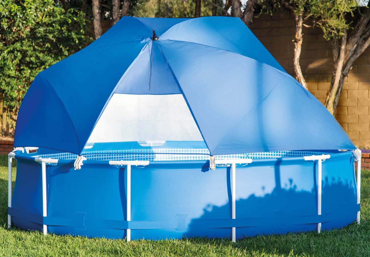 """Тент от солнца """"Intex""""  имеет форму полу-купола и надежно закрывает часть бассейна от солнца, а наличие сетчатого окна обеспечивает хорошую вентиляцию."""