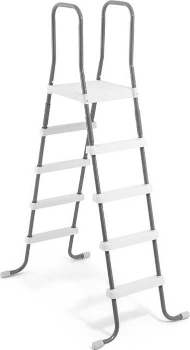 """Лестница для бассейна """"Intex"""" выполнена из высококачественного материала, устойчивого к ржавчине. Ступеньки выполнены из прочного пластика, предотвращающим скольжение. Лестница легко собирается, в разобранном виде не занимает много места. Высота лестницы: 132 см."""