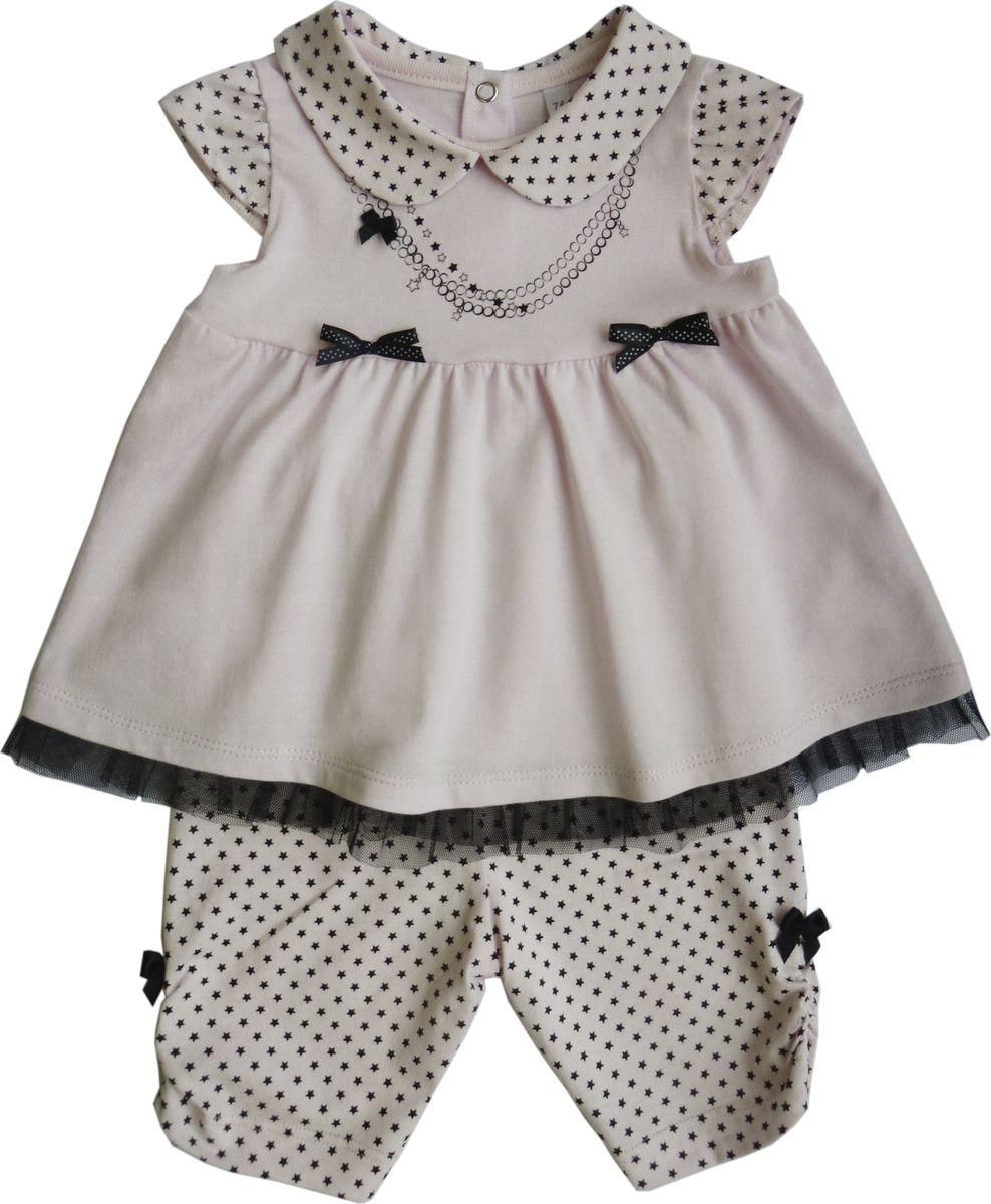 Комплект одежды для девочки Soni Kids Гламур: футболка, бриджи, цвет: белый. Л6121001-80к. Размер 80