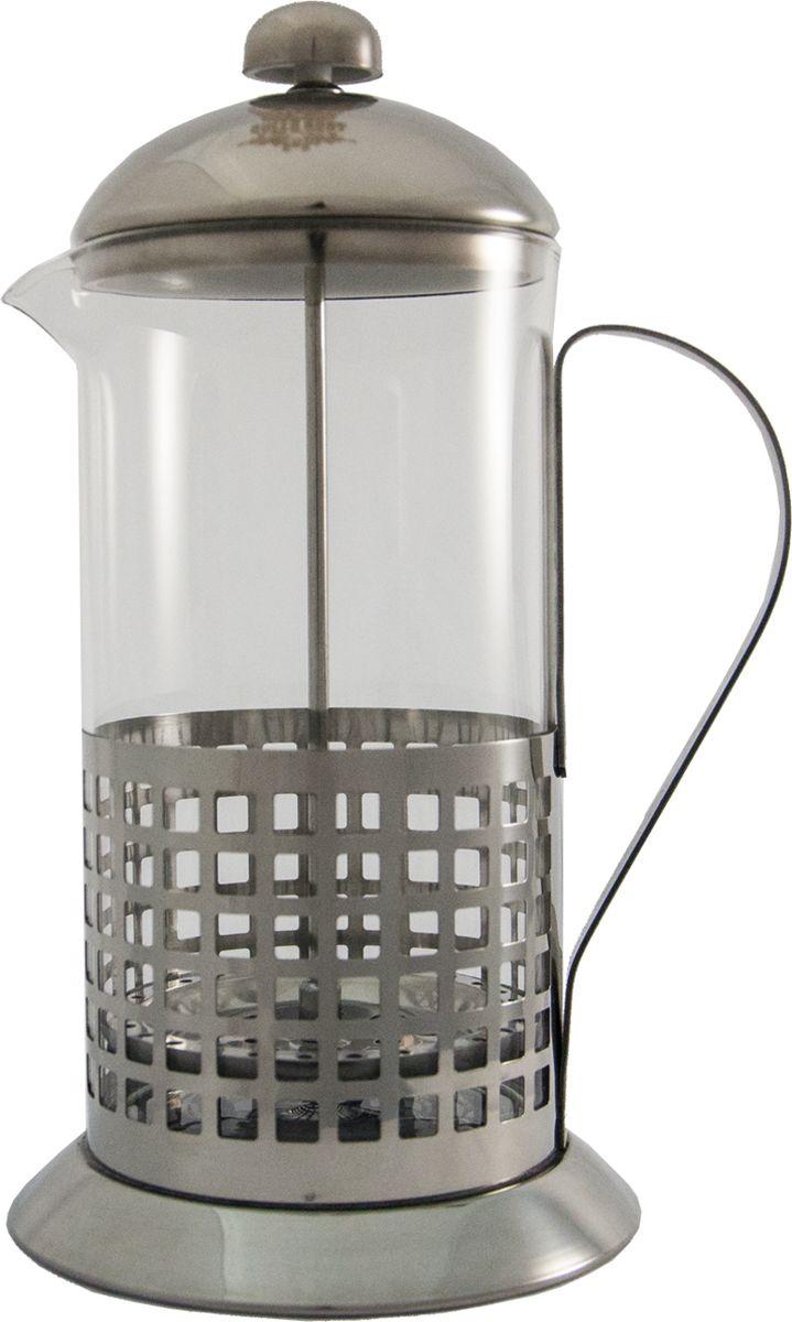 Объем: 800 мл. Высококачественная нержавеющая сталь 18/10.Жаростойкая стеклянная колба.Во время заваривания ручки не нагреваются.Сетчатый фильтр очень качественно фильтрует частицы кофе или заварку.