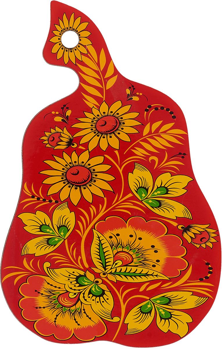 Доска разделочная Груша, цвет: красный, желтый, 28 х 17 х 0,5 см статуэтка русские подарки мисс рандеву 11 х 10 х 31 см