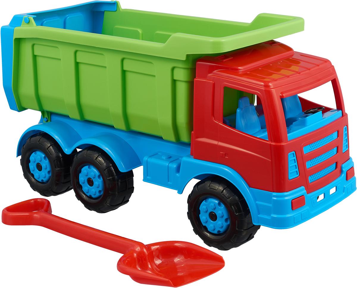 Полесье Самосвал Премиум + лопата большая цвет голубой зеленый красный