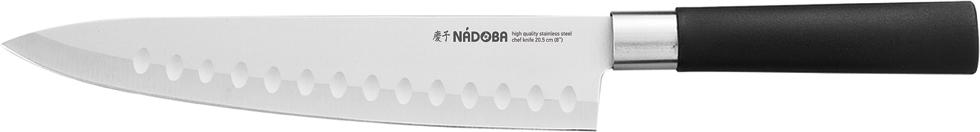 """Универсальный нож Nadoba """"Keiko"""" выполнен из нержавеющей стали. Рукоятка изготовлена из высококачественного пластика. Нож легко режет любые виды продуктов. Легко моется. Общая длина ножа: 34 см."""