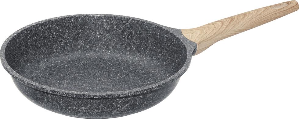 """Сковорода Nadoba """"Mineralica"""" выполнена из литого алюминия с надежным 5-слойным антипригарным покрытием Pfluon на основе структуры гранита внутри и снаружи сковороды. Антипригарное покрытие не содержит PFOA (перфтороктановой кислоты), кадмия, свинца и прочих вредных веществ. Высокая прочность покрытия позволяет использовать металлические инструменты (лопатки, ложки и другие). Массивный корпус обеспечивает быстрый и равномерный нагрев на всей поверхности и не деформируется. Эргономичная ручка выполнена из бакелита, который предотвращает выскальзывание из рук и не нагревается. Подходит для использования на всех типах плит, включая индукционных. Диаметр сковороды (по верхнему краю): 26 см.Высота стенки: 6 см.Длина ручки: 19 см.Диаметр дна: 17 см."""