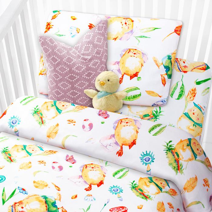 Комплект в кроватку Mona Liza Цыплята, 1,5-спальный, цвет: белый, наволочка 40 х 60 см комплект в кроватку mona liza медвежата 1 5 спальный цвет белый наволочка 40 х 60 см