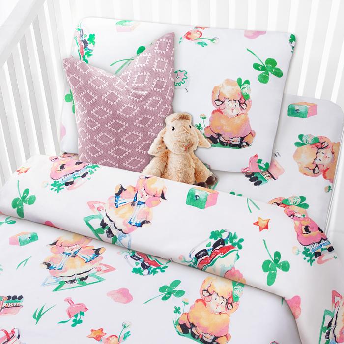 Комплект в кроватку Mona Liza Овечки, 1,5-спальный, цвет: белый, наволочка 40 х 60 см комплект в кроватку mona liza медвежата 1 5 спальный цвет белый наволочка 40 х 60 см