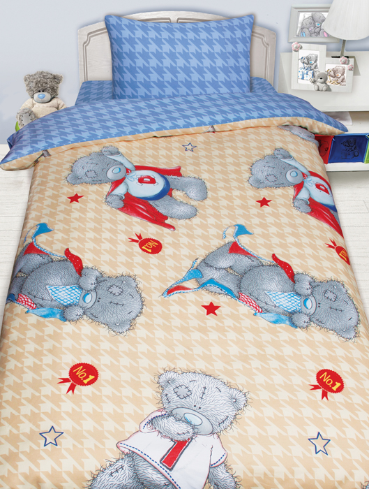 Комплект постельного белья Mona Liza Teddy Ded, 1,5 спальное, цвет: бежевый, наволочка 50 х70 см