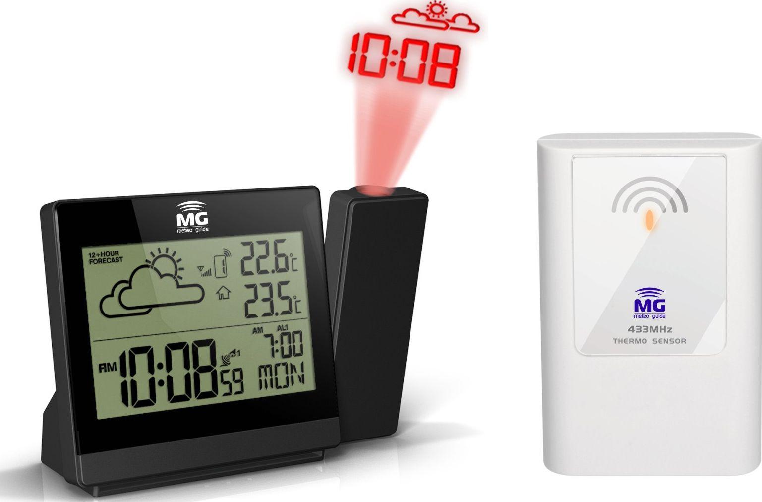 MG 01501, Black проекционные часы01501Проекционные часы MG 01501 - миниатюрные, наделенные привлекательным дизайном проекционные метеочасы являются отличным устройством, позволяющим в домашних условиях определять температурные показатели воздуха, как в помещении, так и на улице (до -50 С), а также атмосферное давление. В темное время суток на потолке или стене отображается проекция, на которой отчетливо видны определяемые показатели. Учитывая, что прогноз погоды определяется на ближайшие 12 часов, можно без труда предусмотреть необходимость брать с собой зонт, одевать ту или иную одежду и обувь. Особенно данная функция по достоинству ценится семьями, где есть дети. Эта изящная модель занимает совсем немного места, что приятно порадует потребителей. При отличной функциональности стоимость домашней метеостанции невысокая.Модель MG 01501- снабжена следующими компонентами:? Проекция времени и анимационного прогноза погоды в темное время суток не потолок или стену? Легкая настройка фокуса и положения проецируемого изображения, возможность поворота на 180°? Температура внутри помещения, тенденция ее изменения? Температура вне помещения, тенденция ее изменения? Два независимых друг от друга будильника? Система ICE-ALERT-предупреждение об обледененииВся информация выводится моментально на отлично читаемый дисплей.