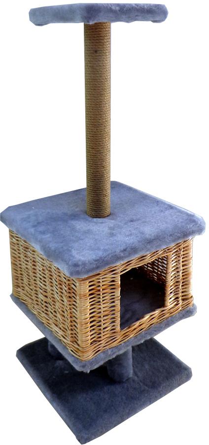 Домик-когтеточка Меридиан Квадратный на подставке, цвет: светло-серый, 39 х 39 х 102 см домик trixie когтеточка alondra аквамарин серый для кошек 72 см