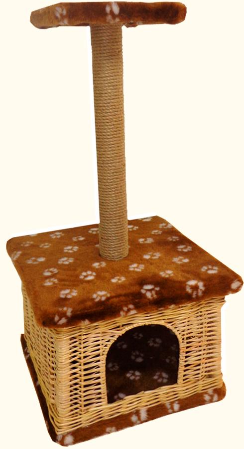 Домик для животных Меридиан Квадратный. Лапки, с высокой полкой, 38 х 38 х 80 см домик perseiline кошка для кошек 38 40 40 см 00025 дмс 4