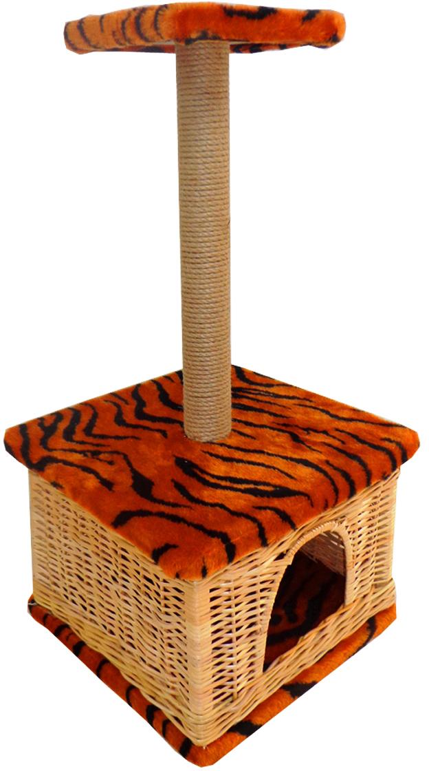 Домик для животных Меридиан Квадратный. Тигровый, с высокой полкой, 38 х 38 х 80 см домик perseiline кошка для кошек 38 40 40 см 00025 дмс 4
