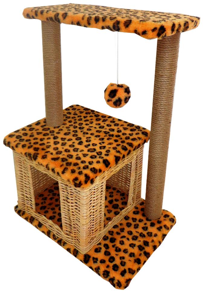 Домик-когтеточка Меридиан Квадратный двухэтажный, цвет: леопардовый, 50 х 36 х 75 смД127Л ЛеДомик-когтеточка Меридиан Квадратный выполнен из высококачественного ДВП и ДСП и обтянут искусственным мехом. Изделие предназначено для кошек. Комплекс имеет 2 яруса. Ваш домашний питомец будет с удовольствием точить когти о специальные столбики, изготовленные из джута. А отдохнуть он сможет либо на полках, либо в уютном домике. Изделие снабжено подвесной игрушкой.