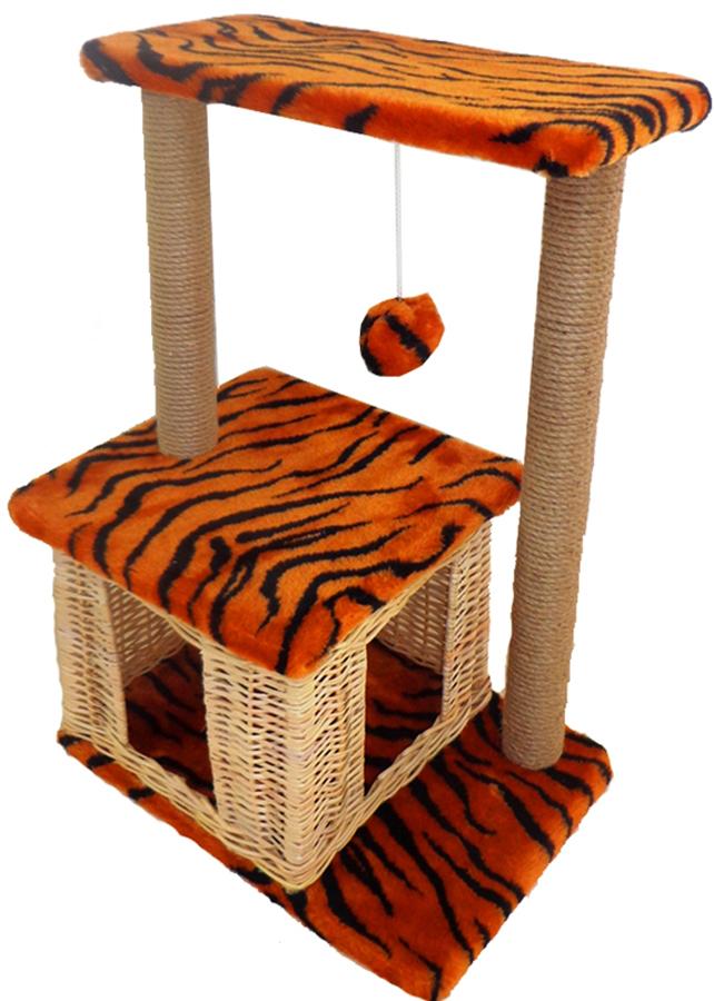 Домик-когтеточка Меридиан Квадратный двухэтажный. Тигровый, 50 х 36 х 75 см домик когтеточка меридиан квадратный 2 ярусный с игрушкой цвет белый черный бежевый 50 х 36 х 75 см