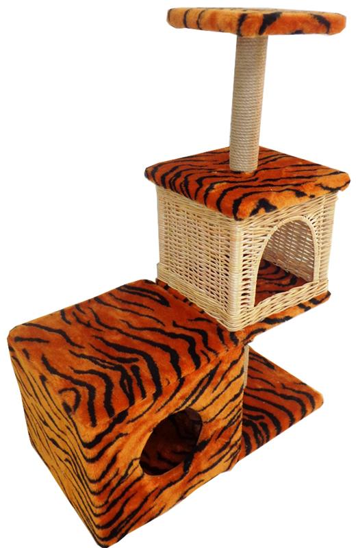 Домик-когтеточка Меридиан Квадратный трехэтажный с двумя окошками. Тигровый, 66 х 36 х 94 см домик когтеточка меридиан угловой 4 ярусный цвет тигровый 55 х 48 х 158 см