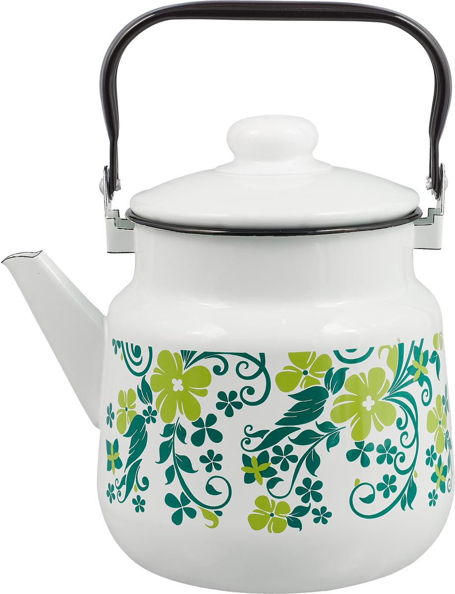"""Чайник """"Эмаль"""", цвет: зеленый, белый, 3,5 л"""