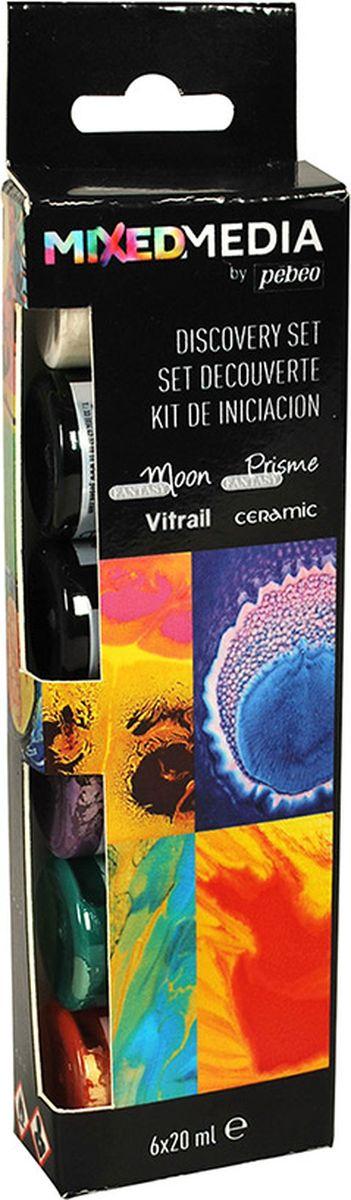 Pebeo Краска для керамики Mixed Media 20 мл 6 шт краска для тела maxring diy stickers min 12 mixed 19 18152