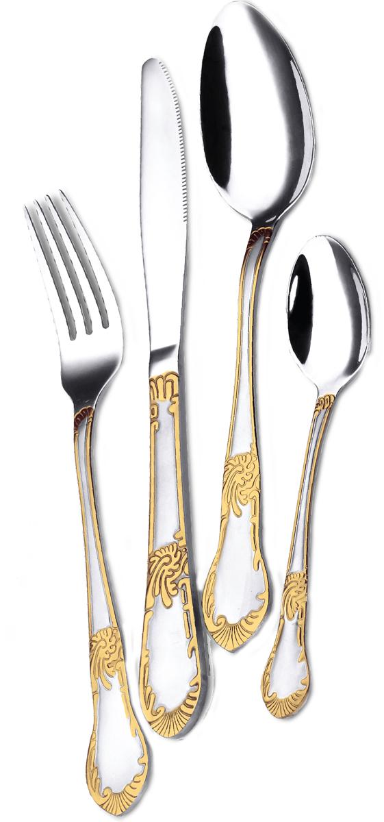 Набор столовых приборов Mercury, цвет: золотой, серебристый, 24 предмета. MC-6174 набор кастрюль 6 предметов peterhof цвет серебристый