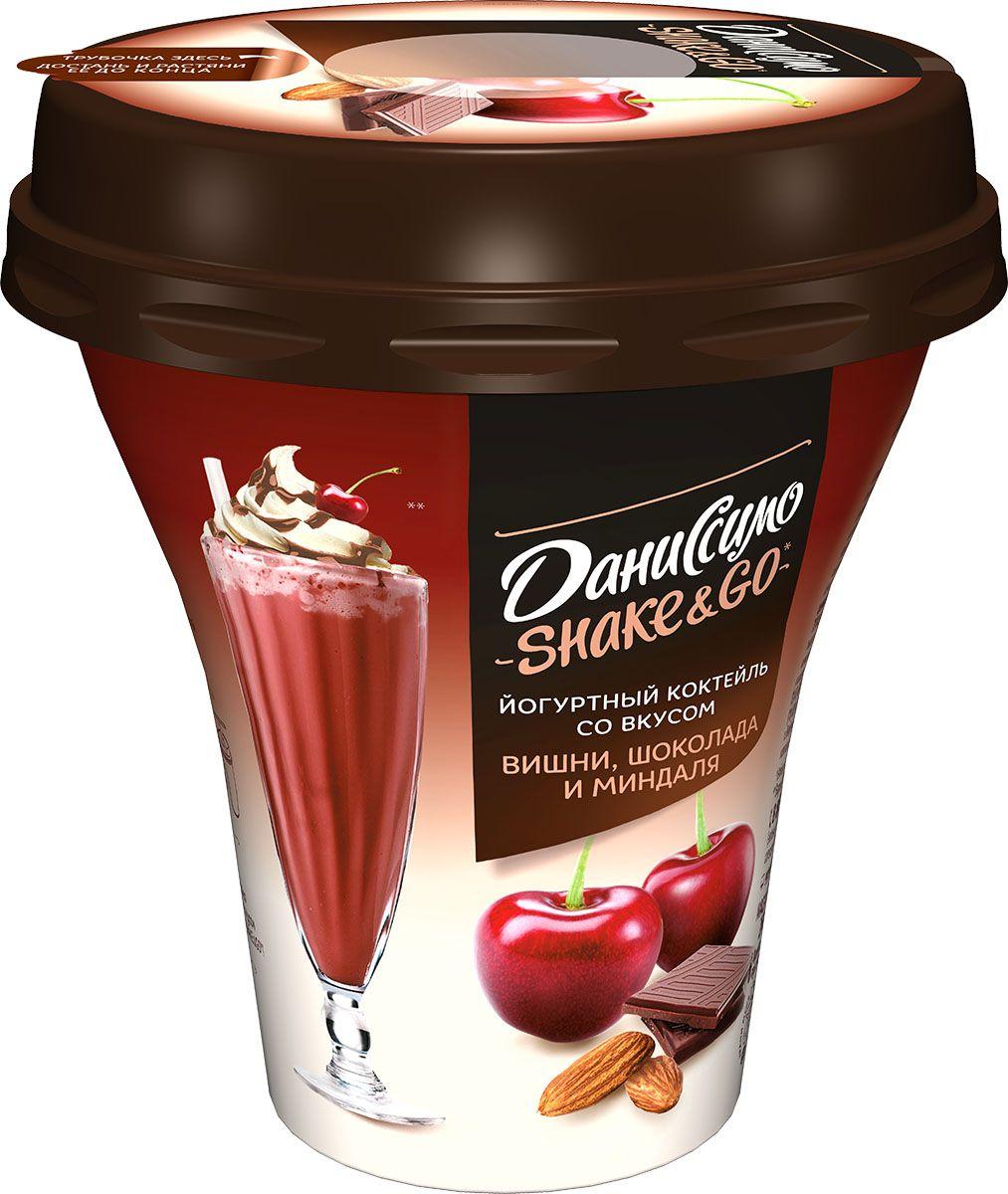 Даниссимо Shake&Go Йогуртный коктейль Вишня, Шоколад и Миндаль 5,2%, 260 г цена 2017