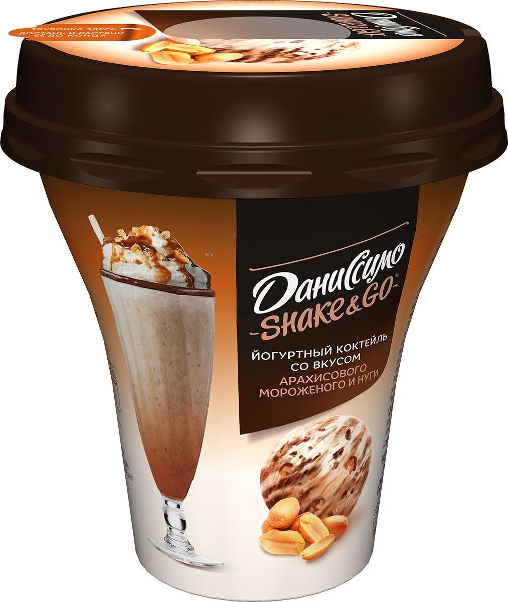 Даниссимо Shake&Go Йогуртный коктейль Арахисовое мороженое и Нуга 5,2%, 260 г олинеза лютеница домашняя 260 г