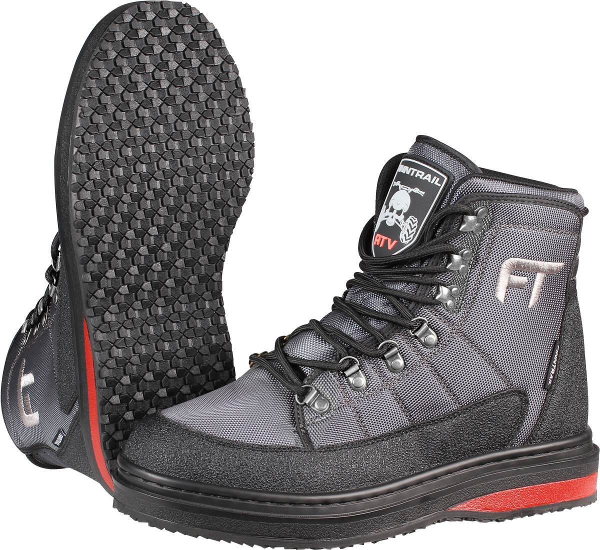 Ботинки для рыбалки Finntrail Runner, цвет: серый, черный, красный. 5221. Размер 44