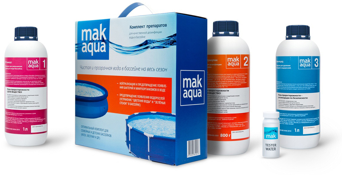 Комплект препаратов для дезинфекии воды в бассейне  Mак Aqua  -  Бассейны и аксессуары