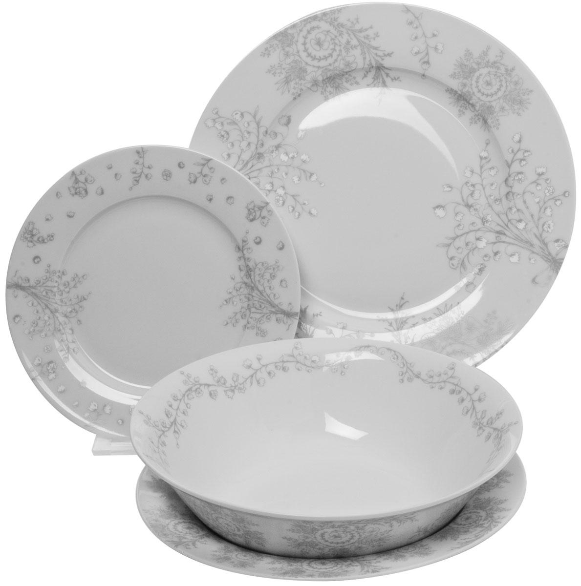Столовый набор состоит из 6 суповых тарелок, 6 обеденных тарелок, 6 десертных тарелок и салатника. Изделия выполнены из фарфора и дополнены орнаментом. Посуда отличается прочностью, гигиеничностью и долгим сроком службы. Такой набор прекрасно подойдет как для повседневного использования, так и для праздников или особенных случаев.