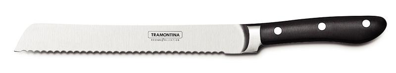 Нож для хлеба Tramontina Prochef, длина лезвия 17,5 см24159/008-TRКлассический нож для хлеба из лимитированной серии ProChef, которая входит в линейку дизайнерской посуды Design Collection. Нож выполнен из высококачественной нержавеющей стали KRUPP 1.4110 с эргономичной рукоятью. Нож отлично выполнен и идеально ляжет практически в любую руку. Удобен для нарезки любого хлеба благодаря пилообразной режущей кромке. Отлично справится со своей задачей. Будет интересен тем, кто покупает хлеб в пекарнях или печет его сам. Длина лезвия - 205 мм. Ширина лезвия - 26 мм. Толщина у обуха - 2 мм. Длина рукояти - 120 мм. Вес ножа - 183 грамма.Отличие линейки Design Collection от обычной продукции Tramontina в том, что все изделия выпускают в ограниченном количестве. Каждый нож упакован в картонную коробку на бархатной подложке, что прекрасно подойдет для подарка. Рукоятки ножей выполнены из поликарбоната со стекловолокном, который по сравнение с широко используемым бакелитом, более долговечен, надежен, плюс выдерживает более значительные температуры, 200 градусов, а не 170 по Цельсию. Лезвие из стали высочайшего качества особой закалки глубоким охлаждением обеспечивает ножу отличную износостойкость. Используется хромомолибденовая высокоуглеродистая сталь 1.4110 KRUPP. В этой стали больше углерода и обеспечивающего коррозионную стойкость хрома, чем в AISI 420, более того, добавляется молибден. Метод производства ножей серии ProChef - ковка в штампах. Твердость ножей порядка 55/58 HRC.