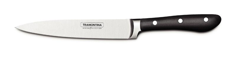 Нож универсальный кухонный Tramontina Prochef, длина лезвия 15 см24160/006-TRКлассический кухонный нож из лимитированной серии ProChef, которая входит в линейку дизайнерской посуды Design Collection. Нож выполнен из высококачественной нержавеющей стали KRUPP 1.4110 с эргономичной рукоятью. Нож отлично выполнен и идеально ляжет практически в любую руку. Классический кухонный нож из лимитированной серии ProChef, которая входит в линейку дизайнерской посуды Design Collection. Нож выполнен из высококачественной нержавеющей стали KRUPP 1.4110 с эргономичной рукоятью. Нож отлично выполнен и идеально ляжет практически в любую руку. Классический европейский нож для повседневной готовки. Удобен для любых операций на кухне. Длина лезвия - 155 мм. Ширина лезвия - 27 мм. Толщина у обуха - 2 мм. (к кончику ножа толщина уменьшается до 1/3 мм). Длина рукояти - 116 мм. Вес ножа - 137 грамм.Отличие линейки Design Collection от обычной продукции Tramontina в том, что все изделия выпускают в ограниченном количестве. Каждый нож упакован в картонную коробку на бархатной подложке, что прекрасно подойдет для подарка. Рукоятки ножей выполнены из поликарбоната со стекловолокном, который по сравнение с широко используемым бакелитом, более долговечен, надежен, плюс выдерживает более значительные температуры, 200 градусов, а не 170 по Цельсию. Лезвие из стали высочайшего качества особой закалки глубоким охлаждением обеспечивает ножу отличную износостойкость. Используется хромомолибденовая высокоуглеродистая сталь 1.4110 KRUPP. В этой стали больше углерода и обеспечивающего коррозионную стойкость хрома, чем в AISI 420, более того, добавляется молибден. Метод производства ножей серии ProChef - ковка в штампах. Твердость ножей порядка 55/58 HRC.