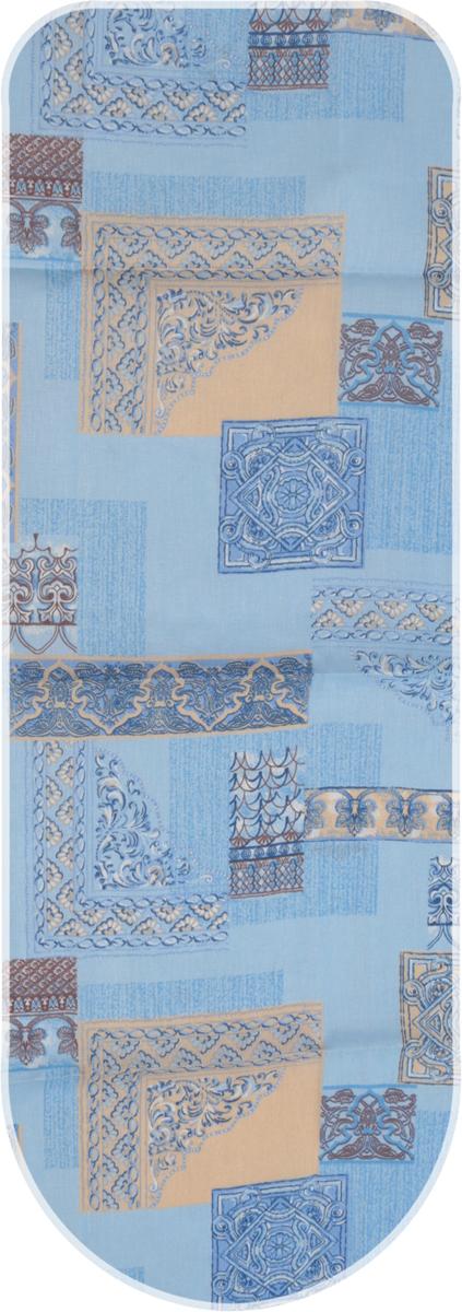 Чехол для гладильной доски Detalle, универсальный, цвет: синий, коричневый, 125 х 47 смЕ1301-синий, коричневыйЧехол для гладильной доски Detalle, выполненный из хлопка с подкладкой из мягкоговойлокообразного полотна (ПЭФ), предназначен для защиты или замены изношенного покрытиягладильной доски. Чехол снабжен стягивающим шнуром, при помощи которого вы легкоотрегулируете оптимальное натяжение чехла и зафиксируете его на рабочей поверхностигладильной доски. Из войлокообразного полотна вы можете вырезать подкладку любого размера, подходящуюименно для вашей доски. Этот качественный чехол обеспечит вам легкое глажение. Он предотвратит образование блескаи отпечатков металлической сетки гладильной доски на одежде. Войлокообразное полотнопрактично и долговечно в использовании. Размер чехла: 125 см x 47 см. Максимальный размер доски: 120 см х 42 см. Размер войлочного полотна: 130 см х 50 см.