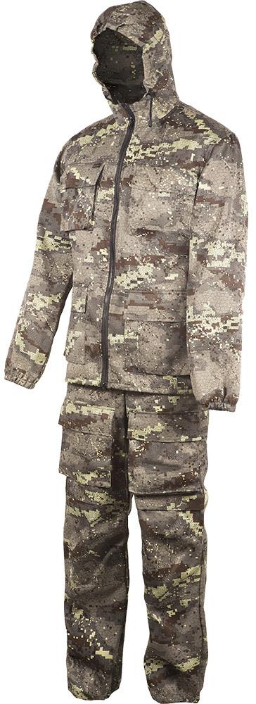Костюм летний. Куртка с накладными карманами, низ рукава на резинке, притачной капюшон, низ куртки регулируется шнуром, брюки на поясе со шлевками, с боковыми и передними накладными карманами, на задних половинках брюк накладные карманы с клапаном и карман для инструментов.