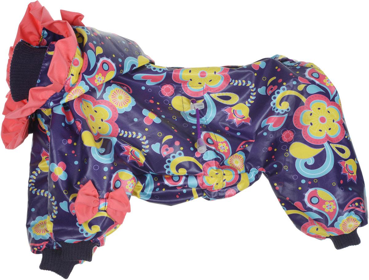 """Комбинезон для собак Kuzer-Moda """"Кокетка"""", для девочки, двухслойный, цвет: фиолетовый, коралловый, желтый. Размер 27"""