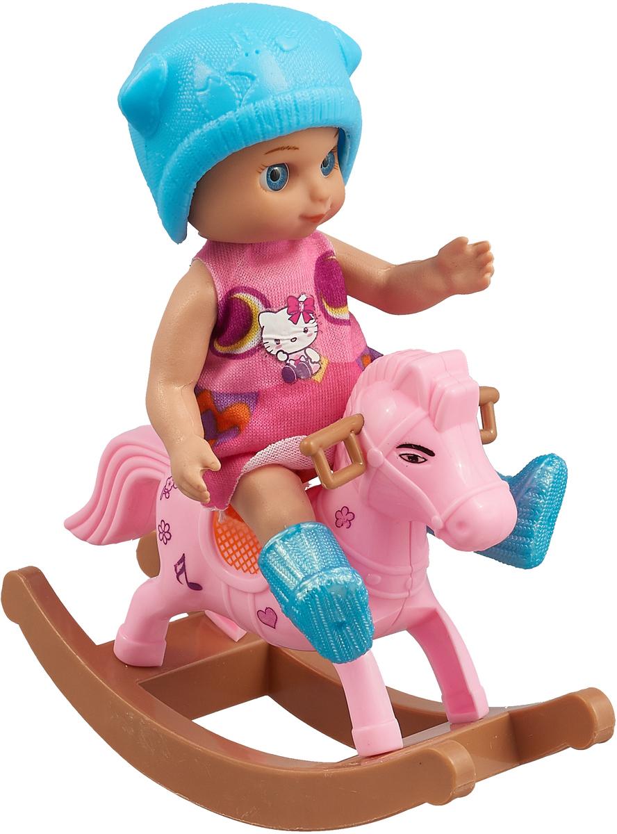 Карапуз Игровой набор с куклой Машенька на лошадке-качалке синяя шапочка в платье игровой набор beanzeez медвежонок на пони качалке
