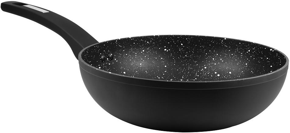 """Сковорода-вок Cs-Kochsysteme """"Marburg"""", с мраморным покрытием, цвет: черный. Диаметр 24 см"""