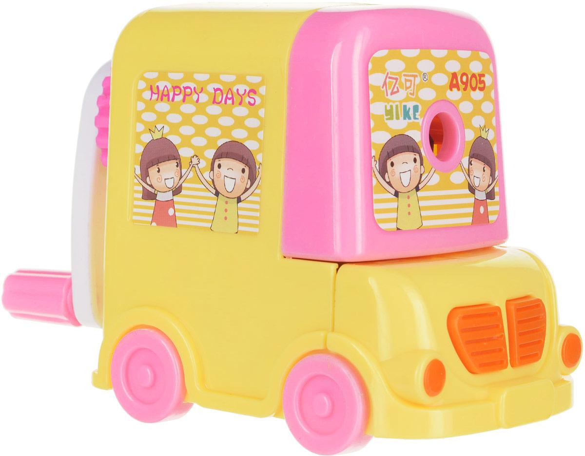 Точилка механическая с контейнером Машинка, цвет: желтый 172338