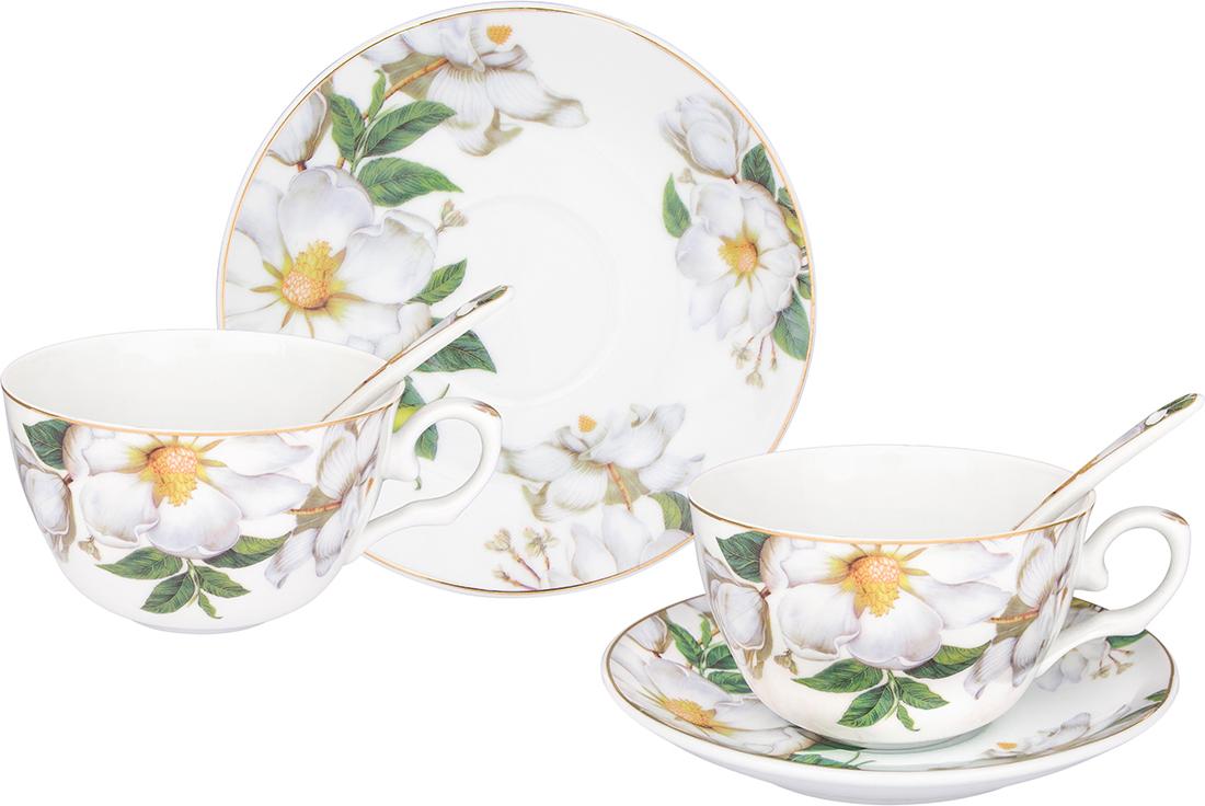 """Чайный набор Elan Gallery """"Белый шиповник"""" состоит из 2 чашек, 2 блюдец и 2  ложек. Изделия, выполненные из высококачественной керамики, имеют  элегантный дизайн и классическую круглую форму.   Такой набор прекрасно подойдет как для повседневного использования, так и  для праздников.  Чайный набор Elan Gallery """"Белый шиповник"""" - это не только яркий и полезный  подарок для родных и близких, а также великолепное дизайнерское решение для  вашей кухни или столовой.  Не использовать в микроволновой печи. Объем чашки: 250 мл.  Диаметр чашки (по верхнему краю): 9,5 см.  Высота чашки: 6 см. Диаметр блюдца (по верхнему краю): 14 см. Высота блюдца: 2 см. Длина ложки: 13 см."""