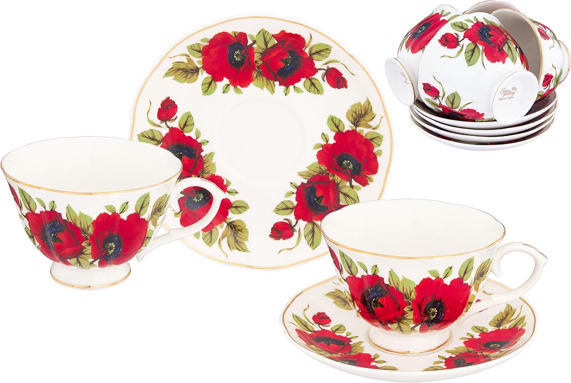 Набор чайный Elan Gallery Маки, 12 предметов набор для варенья elan gallery белый шиповник 7 предметов