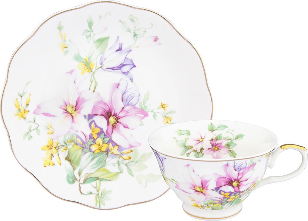 Чайная пара Elan Gallery Нежные цветы, 210 мл, 2 предмета чайная пара elan gallery день и ночь 220 мл 2 предмета