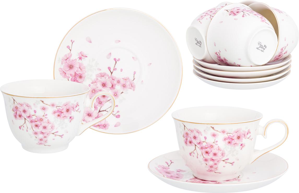 Набор чайный Elan Gallery Цветущая сакура, 12 предметов набор чайный patricia даймонд 12 предметов im11348