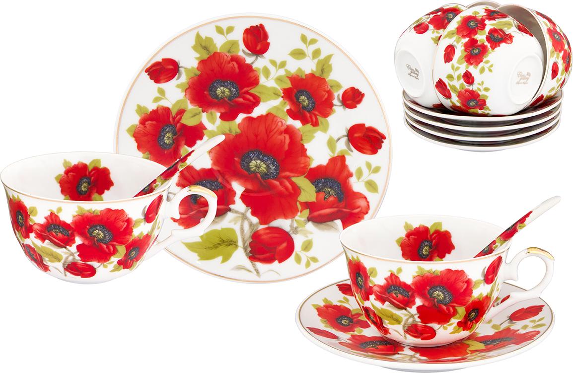 """Чайный набор Elan Gallery """"Маки"""" состоит из 6 чашек, 6 блюдец и 6 ложечек, изготовленных из высококачественной керамики. Предметы набора декорированы изображением  цветов.   Чайный набор Elan Gallery """"Маки"""" украсит ваш кухонный стол, а также станет замечательным подарком друзьям и близким. Изделие упаковано в подарочную коробку с атласной подложкой.  Не рекомендуется применять абразивные моющие средства. Не использовать в микроволновой  печи.   Объем чашки: 250 мл. Диаметр чашки по верхнему краю: 9,5 см. Высота чашки: 6 см. Диаметр блюдца: 15 см. Длина ложки: 12,5 см."""