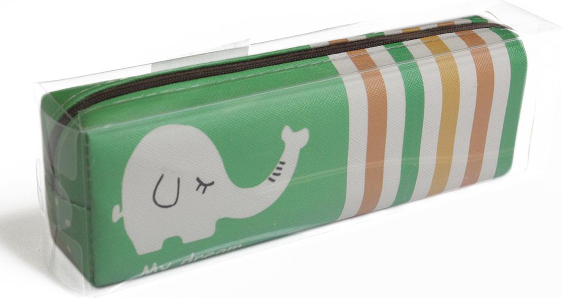 Calligrata Пенал школьный Слоник цвет зеленый