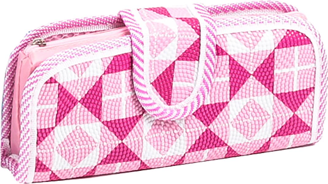 Calligrata Пенал школьный 2 отделения Геометрия цвет розовый 2924179