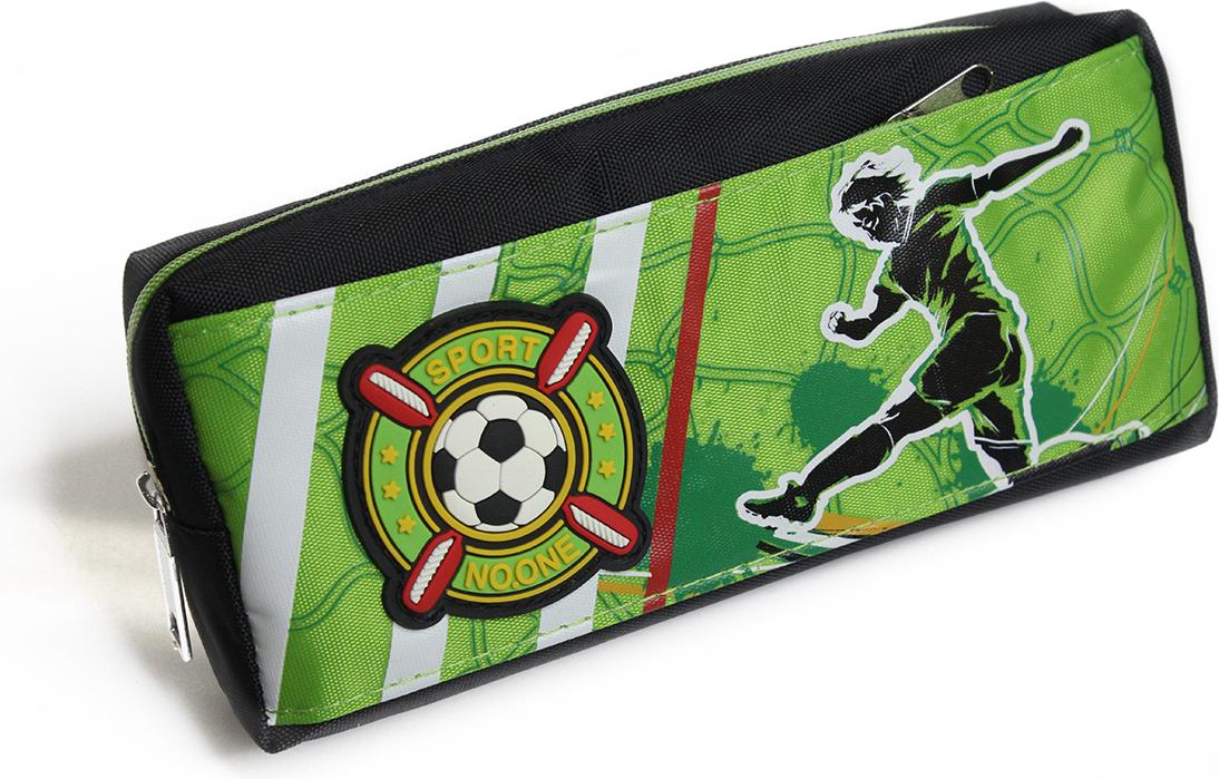 Calligrata Пенал школьный 2 отделения Футбол цвет зеленый 2882012