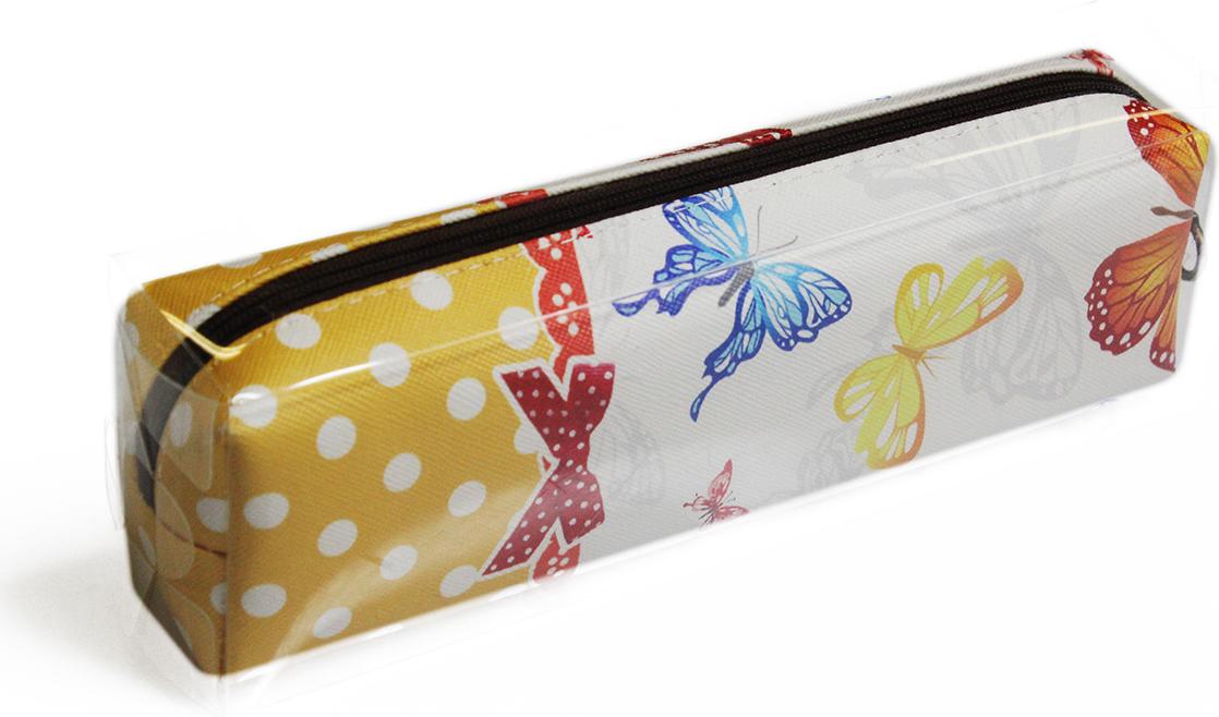 Calligrata Пенал школьный Бабочки цвет желтый 2873676
