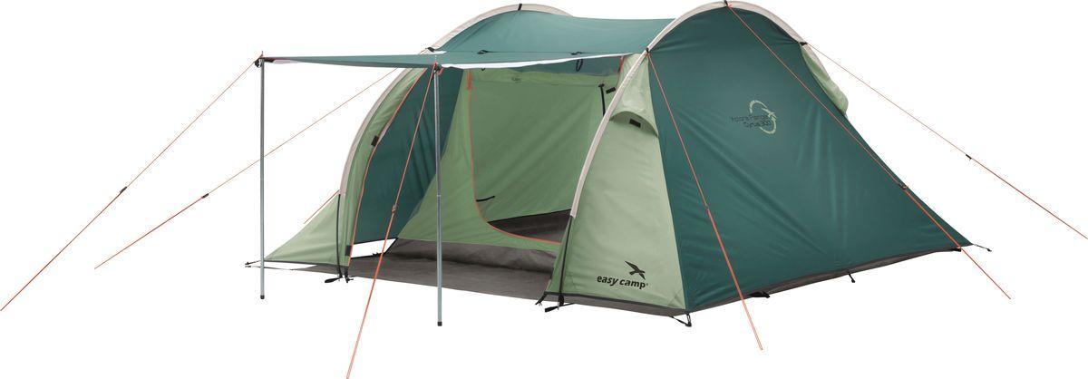 Новая стильная и просторная палатка с двумя дугами рассчитана на 3 человек. Практичный   дизайн позволяет открывать внешний и внутренний тент по всей длине палатки.Таким   образом, можно использовать открытую часть внешнего тента в качестве навеса   (вертикальные стойки идут в комплекте) и наслаждаться пейзажем или заниматься   приготовлением пищи. Также можно полностью свернуть эту часть или застегнуть на   молнию и при помощи съемного дна организовать комфортную защищенную зону отдыха.  Тент: 180T 100% полиэстер с PU покрытием. Огнестойкий материал  Внутренняя палатка: Дышащий 100% полиэстер  Отделения: 1 спальня, 1 тамбур  Дно: 100% полиэтилен  Каркас: Стекловолокно 8,5 мм. 2 вертикальных стальных шестерни 16 мм  Дополнительно: Съемная крыша для крыльца   Как выбрать палатку – статья на OZON Гид.