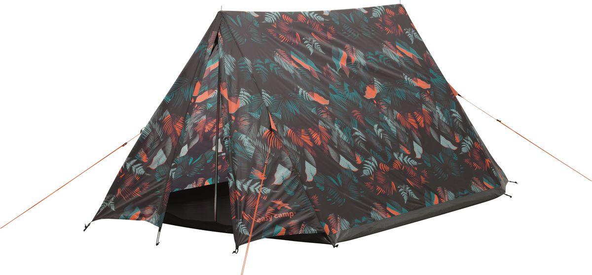 Палатка Easy Camp, 2-местная, цвет: темно-серый, зеленый, оранжевый. 120263