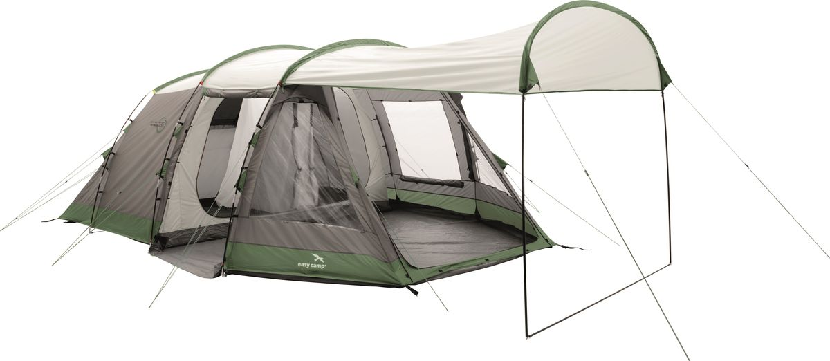 Комфортная палатка с большим навесом рассчитана на 6 человек. Спальня с двойными дверями разделена на 2 части.Модель имеет элегантный дизайн, гибкие стойки, просторный тамбур, большие окна со шторками и центральный вход с москитной сеткой. Вентиляционные отверстия в передней и задней части палатки, москитные сетки на внутренних дверях обеспечивают хорошую циркуляцию воздуха. Полноразмерное чашеобразное дно на пуговицах легко прикрепляется и чистится. Как выбрать палатку – статья на OZON Гид.