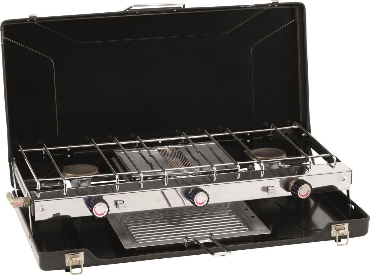 Две горелки мощностью 1500W и гриль мощностью 1500W. - Складывается для компактного хранения - Ветрозащитный экран - Автоматический электроподжиг - Раздельно управляемые горелки - Нескользящие резиновые ножки - Тостер.