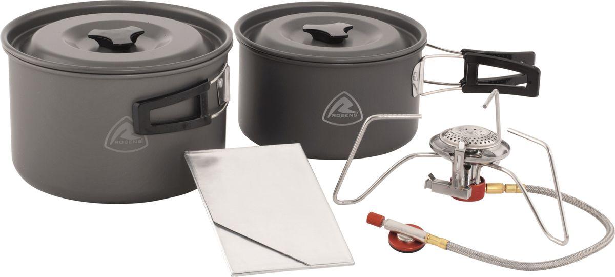 """Универсальная система приготовления пищи """"Robens"""" на 3-4 человек.   В комплект входит 2 котелка (1800 мл/ 2800 мл), 2 крышки, 1 горелка мощностью 3200 Вт, 1 ветрозащитный фольгированный экран и сетчатый чехол для хранения."""